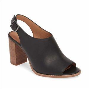 Madewell Black Leather Healed Fall Sandal